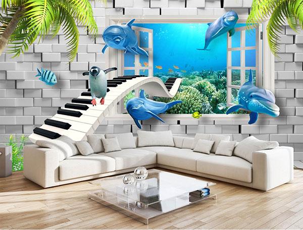 Giấy dán tường 3D phòng khách Hải Phòng