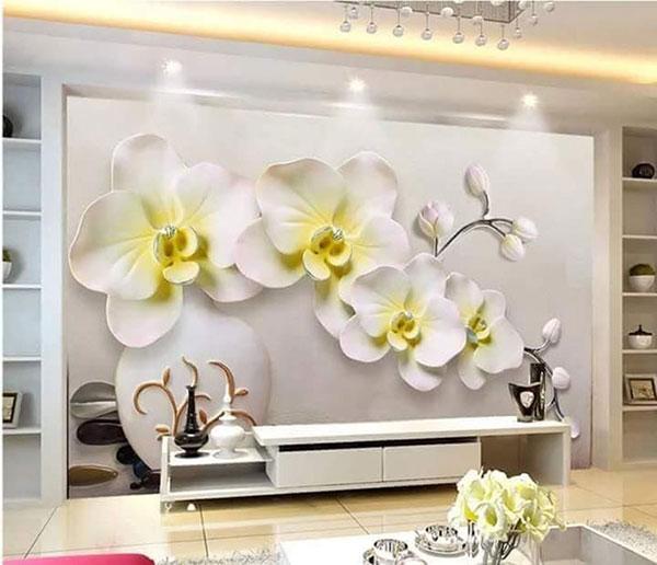 tranh hoa 3d dân tường phòng khách hải phòng