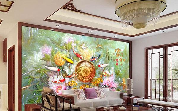 mẫu tranh dán tường 3d phòng khách