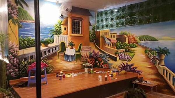 tranh 3d dán tường cho quán cafe tại hải phòng