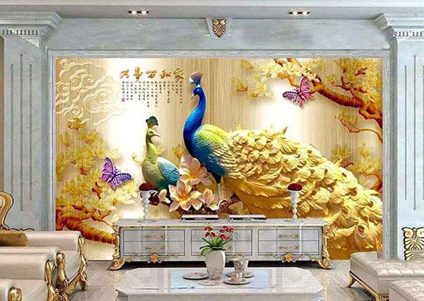 tranh dán tường phong thủy phòng khách hải phòng