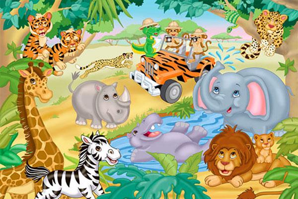 tranh 3d dán tường hình con vật cho bé