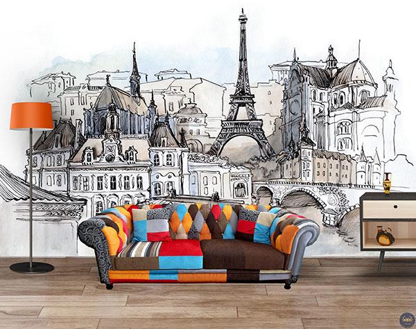 tranh 3d dán tường trang trí phòng khách